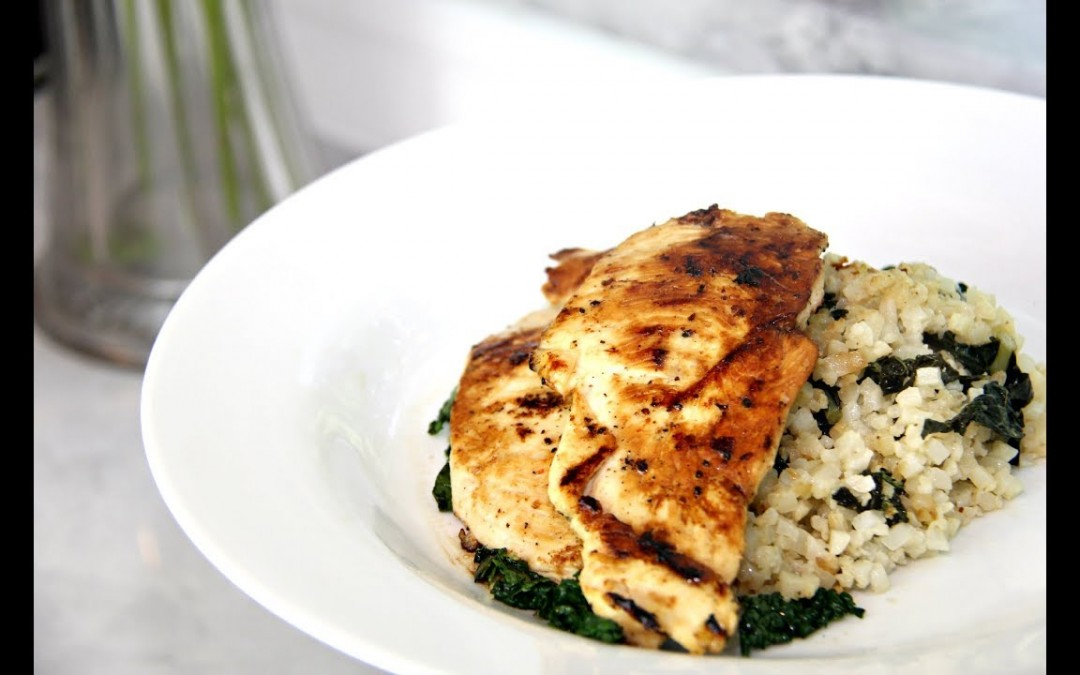 Diabetes Friendly Recipes   Italian Chicken with Spinach Kale Cauliflower Rice