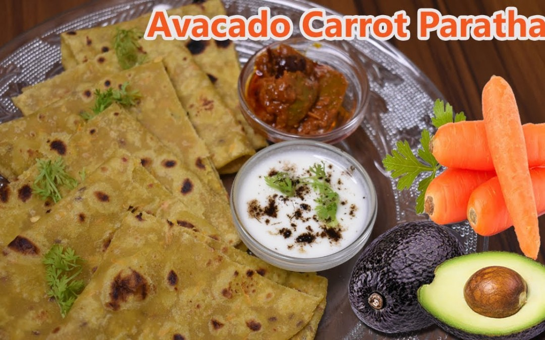 Avocado Paratha Recipe | How to Make Avocado Carrot Chapati Roti | Healthy Flatbread Veg Food Recipe