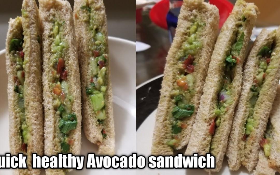Quick healthy Avocado sandwich  Easy wheat bread Avocado sandwich.