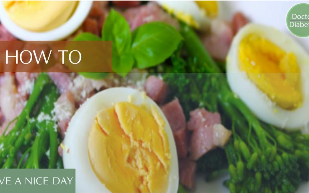 healthy diabetic recipes low calorie for control diabetes: Tenderstems, Eggs & Bacon