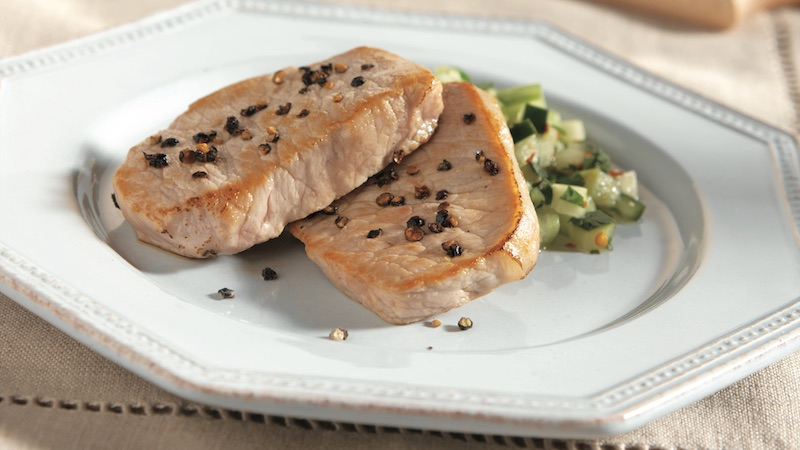 Pork With Cucumber Pico De Gallo